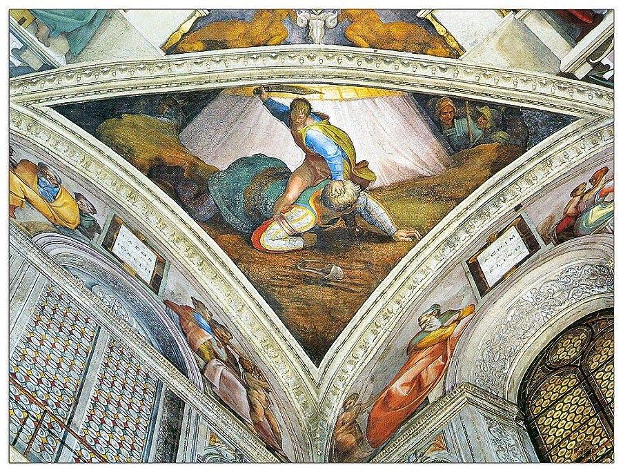 ArtPlaza TW93270 Buonarotti Michelangelo - David und Goliath Decorative Panel 35.5x27.5 Inch Multicolored