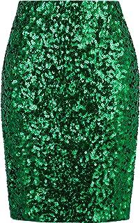 Vijiv Women's Sequin Skirt Midi High Waist Elegant Stretchy Sparkle Side Slit Pencil Skirt Party Cocktail