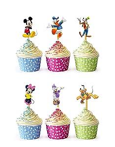 24x Cupcake Topper Picks (Micky Mouse)