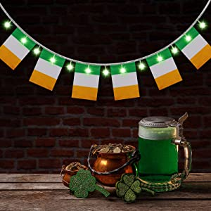 St. Patrick's Party Decoration Ireland Flags Banner and 6.56 ft Shamrock String Lights Clover String Lights for St. Patrick's Day Decoration Home Patio Decoration