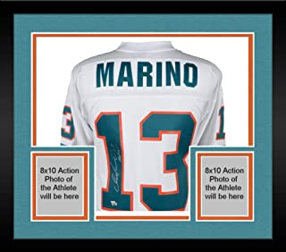 Framed Dan Marino Miami Dolphins Autographed White Replica Mitchell & Ness Jersey with