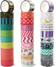 LotFancy 30 Rolls Washi Tape Set, 15mm Wide Colored Masking Tape, Scrapbooking Supplies, Decorative Tape for DIY Craft, Bu...