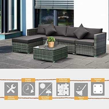 Outsunny 6 Piece Outdoor Patio Wicker Sofa Set Sectional Furniture Chair Conversation Set with Cushions and Tea Table Charcoa