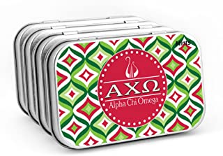 Alpha Chi Omega— (4-PACK) Sugar-Free Peppermint Candies with Large Decorative Tin (about 265 mints per tin). Big Little Sister, Valentines Day, gift bags, stocking stuffers—by Worthy.