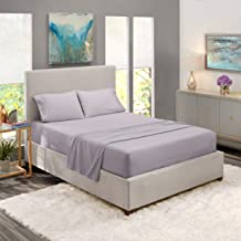 """Nestl Bedding Soft Sheets Set – 4 Piece Bed Sheet Set, 3-Line Design Pillowcases – Wrinkle Free – 10""""–16"""" Good Fit Deep Pockets Fitted Sheet – Warranty Included – Cal King, Gray Lavender"""