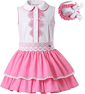 Pettigirl Girls Pink Summer Lace Party Dresses with Headpiece