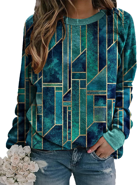 Akivide Women's Geometric Print Shirt Long Sleeve Color Block Diamond Print Round Neck Casual Sweatshirt for Women