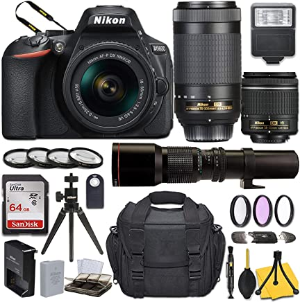 $799 Get Nikon D5600 DSLR Camera with AF-P DX NIKKOR 18-55mm f/3.5-5.6G VR + AF-P DX NIKKOR 70-300mm f/4.5-6.3G ED + 500mm Preset Lens and Basic Travel Kit
