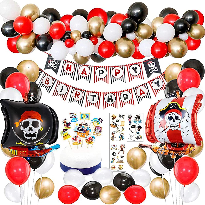 Decoraciones de Fiesta de cumpleaños Pirata con Pirata Tatuaje Temporal Banner Barco Pirata Globos de Barco para niños 1 ° 2 ° 3 ° 4 ° 5 ° 10 ° Suministros de cumpleaños temáticos de Piratas