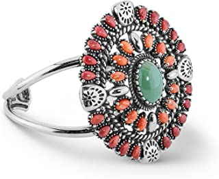 American West Sterling Silver Green Turquoise, Orange and Red Spiny Oyster Shell Gemstone Cuff Bracelet Size S, M or L