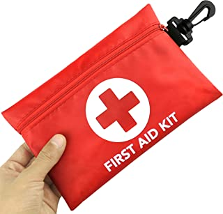 Small First Aid Kit, 100 Pieces Compact Waterproof Mini Emergency Survival Kit FDA OSHA Compliant for Home, Workplace, Vehicle, Travel, Camping, Backpacking Outdoor (Red)