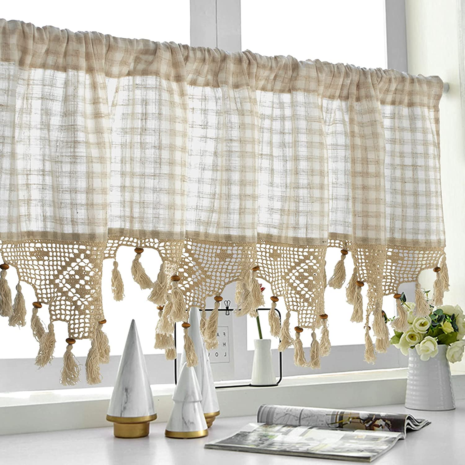 40% OFF Cheap Sale Indianapolis Mall Crochet Valance Handmade Lattice Cafe Tassel with Curtain Countr