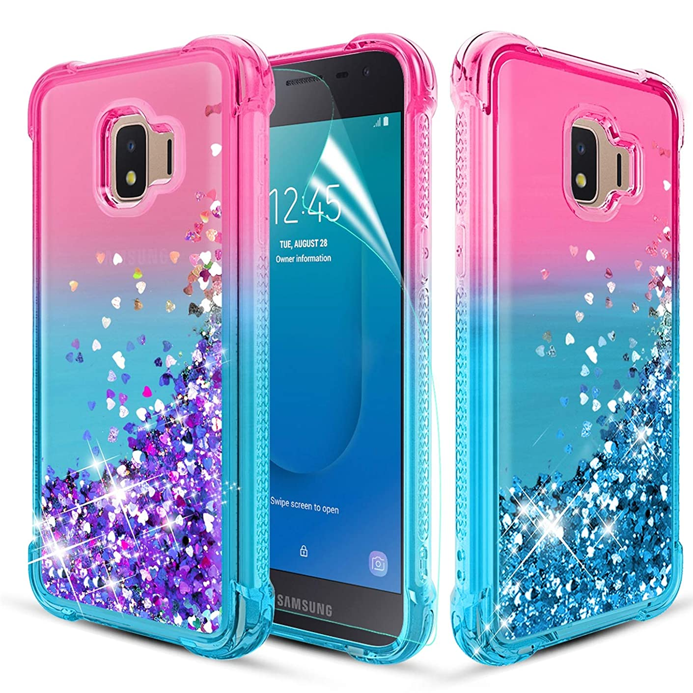 Likeny Case for Galaxy J2,Galaxy J2 Pure/J2 Dash/J2 Core/J2 Shine with Screen Protector Liquid Floating Quicksand Bling Sparkle,Shockproof,Glitter Cover for Cute Girls Women Phone Case Pink/Teal