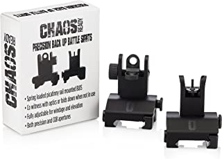 Chaos Ready | Flip Up Iron Sights - Spring Loaded Low Profile Back up Ironsights | Designed for Picatinny 1913 AR Pattern Rails | Co-Witness Front and Rear BUIS Combo Set |