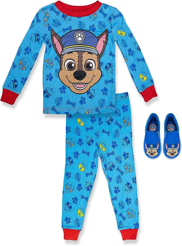 Paw Patrol Boy's 2 Piece PJ Set with Slipper,Navy,100% Cotton, Toddler Boy's Size 2T to 5T
