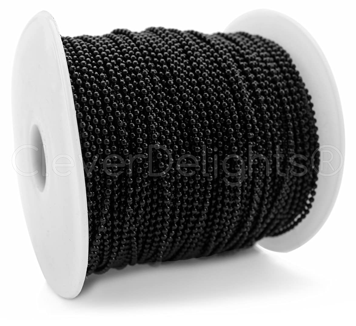 CleverDelights Ball Chain Spool - 330 Feet - 2.0mm Ball - Dark Black - 100 Meters - Bulk wsijmlrsqdjplkj7