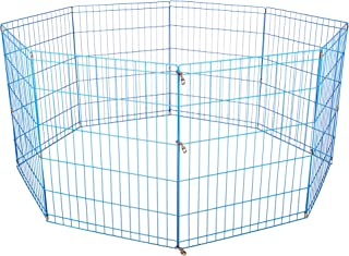 Blue 24 Tall Dog Playpen Crate Fence Pet Kennel Play Pen Exercise Cage -8 Panel