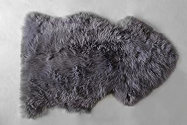 Prima Pelle - Zalea de Borrego, tapete de Piel de Oveja, 100% Genuina, Gris, Negro y Blanco, 1 Pieza, 90 cm x 50 cm Aprox. (B