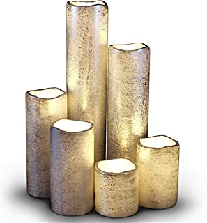 (Rustic Silver With Warm White Flame) - LED Lytes TIMER FLAMELESS CANDLES, SLIM Set of 6, 5.1cm WIDE and 5.1cm - 23cm TAL...