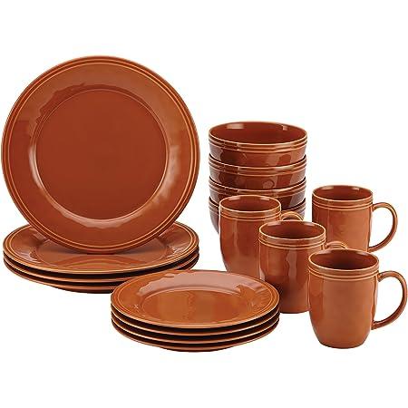 Rachael Ray Cucina Dinnerware 16 Piece Stoneware Dinnerware Set Pumpkin Orange Dinnerware Sets