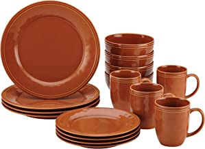 Rachael Ray Cucina Dinnerware 16-Piece Stoneware Dinnerware Set, Pumpkin Orange
