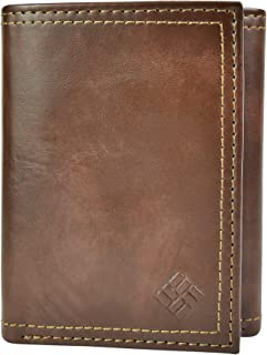 Columbia Mens RFID Leather Wallet Trifold Vertical Security Protection Tri-Fold Wallet