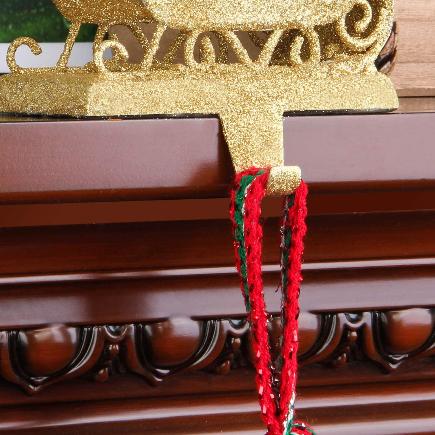 QinYing 6.03 Christmas Pine Tree Bronze Christmas Stocking Holders for Fireplace Mantle Stand Hanger Sturdy Metal Christmas Decorations
