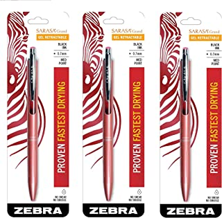 Zebra Sarasa Grand, Retractable Gel Ink Pen, Rose Gold Barrel, Medium Point, 0.7mm, Black Ink, Sold as 3 Pack