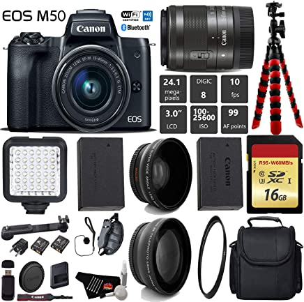 $615 Get Canon EOS M50 Mirrorless Digital Camera with 15-45mm Lens + LED + UV FLD CPL Filter Kit + Wide Angle & Telephoto Lens + Camera Case + Tripod + Card Reader - International Version