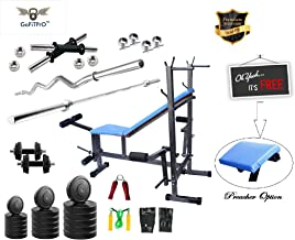 GoFiTPrO 50kg Home Gym with 8 in 1 Bench with 5 Plain and 3ft Curl Rod (Multicolour)