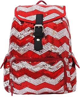 2 Tone Sequin Drawstring Cheer Yoga Dance Girly School Backpack Bookbag (Red)