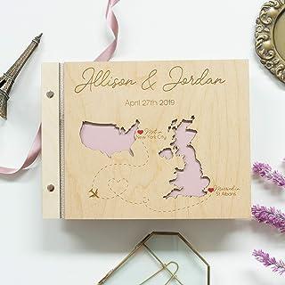 Guestbook matrimonio Libro degli ospiti 30 carte nere allineate con pergamena - perfette per le foto legno per matrimonio ...