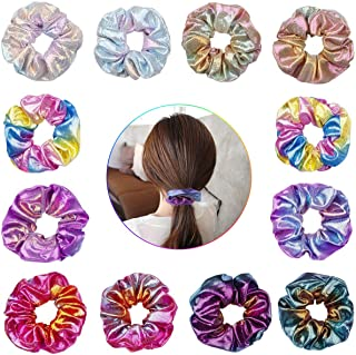 12 Pieces Shiny Metallic Scrunchies, Girls Hair Scrunchies Mermaid Scrunchie Elastics Hair Tie for Women