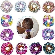 12 Pieces Shiny Metallic Scrunchies, Girls Hair Scrunchies Mermaid Scrunchie Elastics Hair Tie for Women