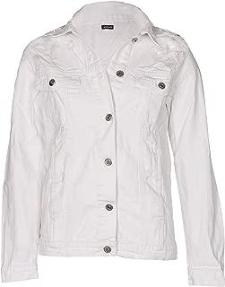 NOROZE Women's Denim Jacket Vintage Loose Fit Ripped Boyfriend 100% Cotton Jean