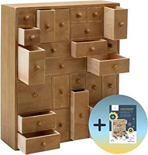 HYGGEHAUS Rustic Jewelry and Makeup Organizer - Countertop Storage | Apothecary Cabinet | Wood Advent Calendar | Craft Organizer | Handmade Wooden Cabinet | 12.5in x 14.5in x 4in