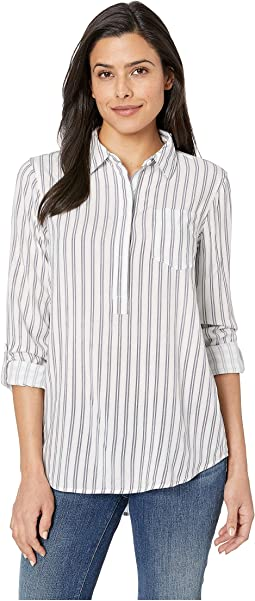 Popover Hi-Lo Shirt w/ Pocket & Roll Tab Sleeve