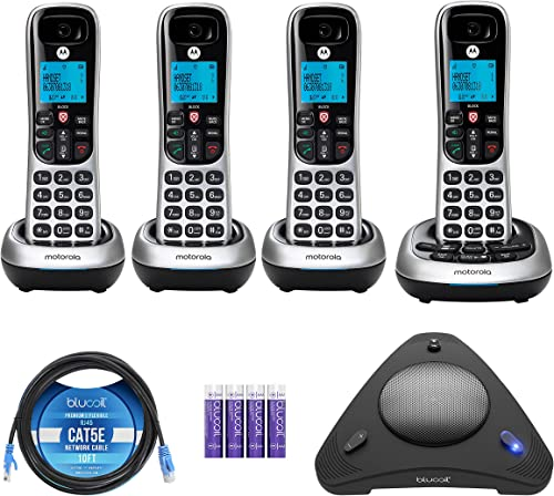 lowest Motorola CD4014 DECT 6.0 Cordless Phone with Answering Machine and Call Block, Silver/Black, 4 Handsets new arrival Bundle with Blucoil 4 AAA Batteries, wholesale 10-FT Cat5e Cable, and USB Conference Speakerphone outlet sale