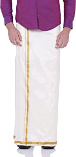 Sethukrishna Men's Art Silk Readymade Stick-on Dhoti with Pocket Prime Exclusive
