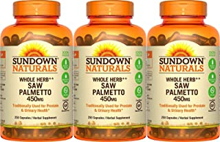 Sundown Naturals Saw Palmetto 450 mg, 250 Capsules (Pack of 3)