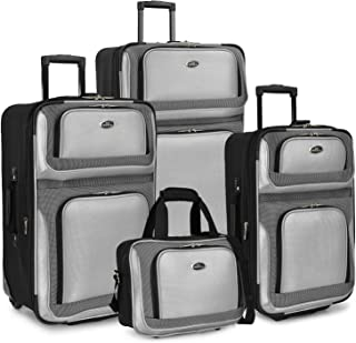U.S. Traveler New Yorker Lightweight Softside Expandable Travel Rolling Luggage Set, Gray, 4-Piece (15/21/25/29)