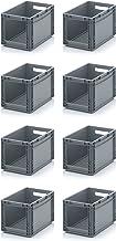 6x Euro Sichtlagerkasten 40 x 30 x 27 cm inkl. gratis Zollstock * Eurobehälter mit Fenster, 8er Set