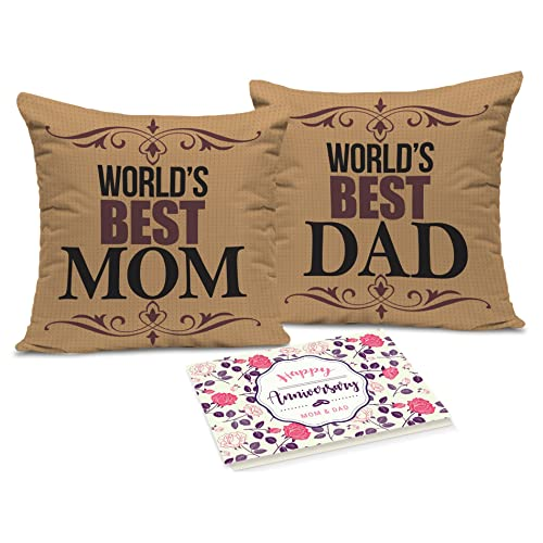 Tied Ribbons Gift For Dad And Mom Set Of 2 Printed Cushion (12 Inch X 12 Inch,Multicolor) With Inner Filler And Greeting Card