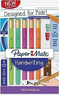 Paper Mate Handwriting Triangular Mechanical Pencil Set with Lead & Eraser Refills, 1.3mm, Fun Barrel Colors, 8 Count (201...