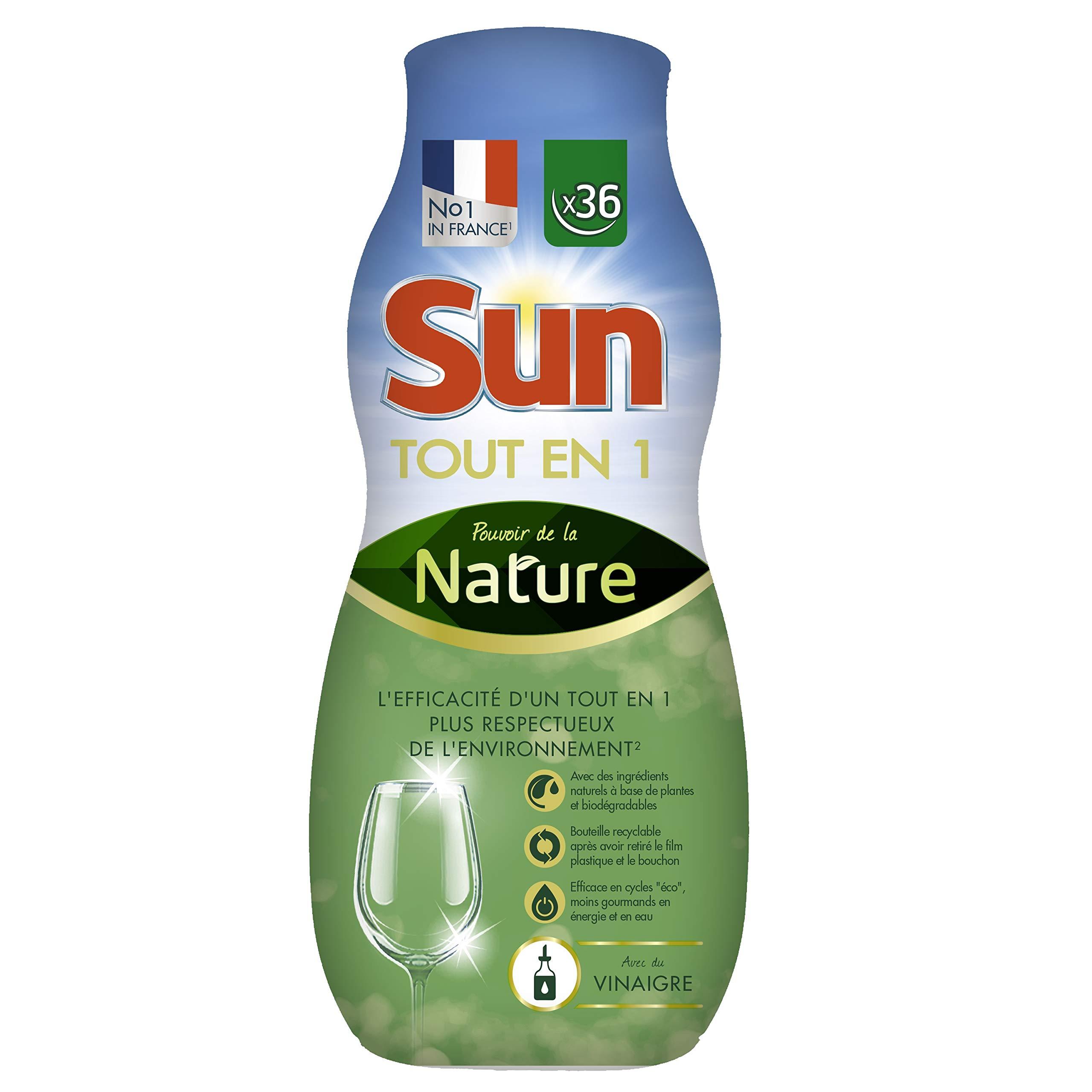 Sun Tout-En-1 Gel Lave-Vaisselle Pouvoir de la Nature au Vinaigre, Ingrédients d'Origine Naturelle 36 Lavages