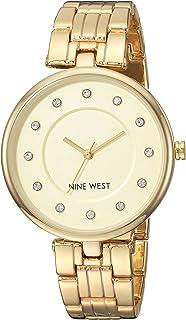 Nine West NW2100CHGB Reloj Análogo para Mujer, color Beige/Oro