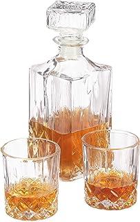 Relaxdays 10031622 Whisky Set, Whiskykaraffe 1 Liter, 2 Whiskygläser 200 ml, Cognac und Whiskey, Hausbar, Dekanter, transparent, Glas