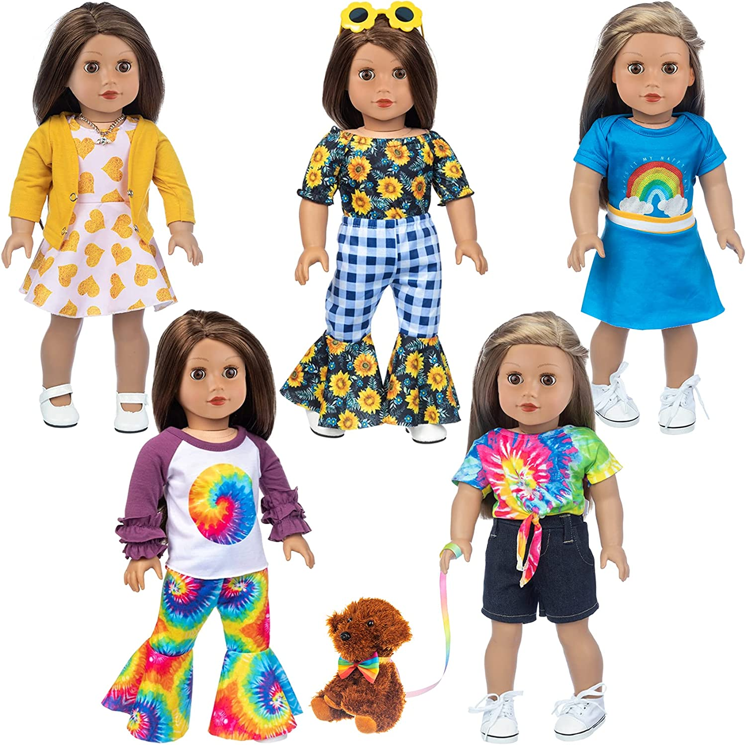 Ecore Fun Deluxe 5 Sets American Factory outlet 18 and Accessories Doll Inch Clothes 1