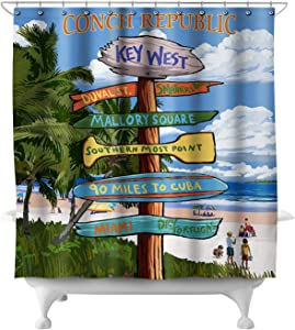 Lantern Press Key West, Florida - Conch Republic - Destinations Sign 46964 (74x74 Polyester Shower Curtain)