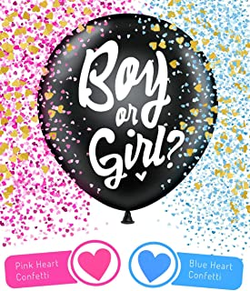 Alluxe One Jumbo 36 Inch Baby Gender Reveal Balloon | Big Black Balloons with Pink and Blue Heart Shape Confetti for Boy or Girl | Gender Reveal Baby Shower Party Supplies Decoration Kit